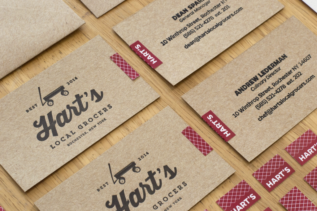 MYDARNDEST - Bill Klingensmith Hart's Local Grocers Signage Rochester, NY #hartslocalgrocers #businesscards #logo #letterpress #mohawk #branding
