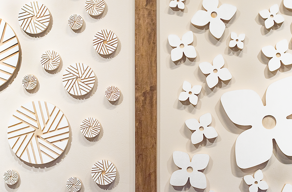 Flower City | Flour City: Wall Art Installation Project CNC Milled Baltic Birch Forms Work was displayed in MYDARNDEST Studio – Rochester, New York View more work at: https://mydarndest.com #art #design #maker #civicpride #CNC