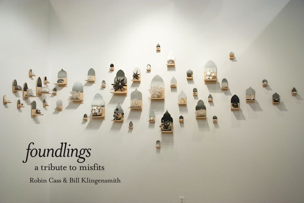 Foundlings: a tribute to misfits Collaboration between artists: Robin Cass and Bill Klingensmith February 6 - March 15, 2015 #CNC #installationart #glass #collaboration #wallart http://www.robincass.com \ http://www.mydarndest.com