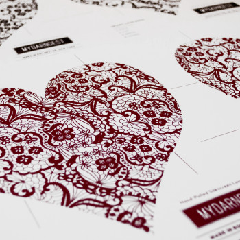 These are crafty Valentine's Day Love Notes. They are designed to fold up to become their own envelopes when you cut out the hearts. The image is of a lace pattern, making it kind of sexy and intimate. To make them extra special, they have been screen printed in Red and Black. This gives them a nice tactile surface for a special touch. #screenprint #artprint #design #ink #craft #handmade #red #black #valentines #lovenotes #screenprinted #mydarndest #print #envelope #rochester MYDARNDEST Studio – Rochester, New York View more work at: www.mydarndest.com