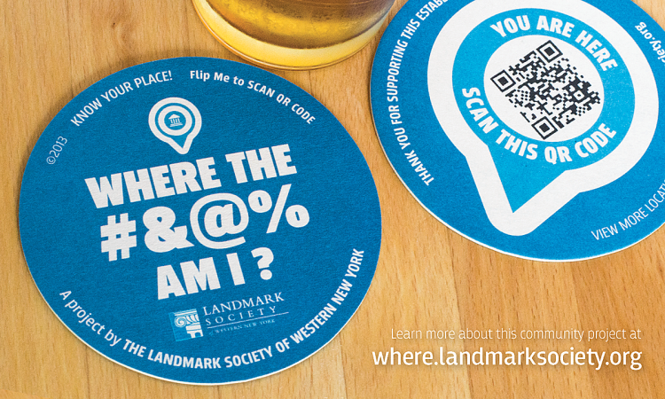 Bill Klingensmith MYDARNDEST Studio in Rochester, New York: Landmark Society of Western New York #branding #logo #website Pub and Bar Coaster Project Website