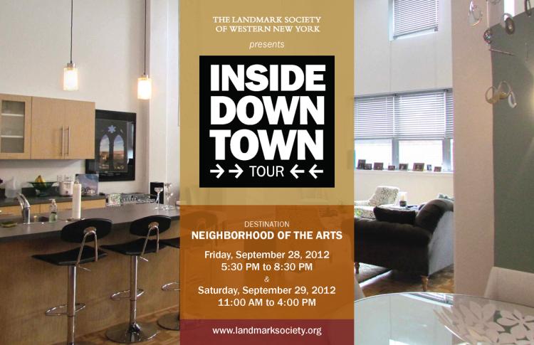 Bill Klingensmith MYDARNDEST Studio in Rochester, New York: Landmark Society of Western New York #branding #logo #ROC Inside Downtown Tour Invite and Event Logo