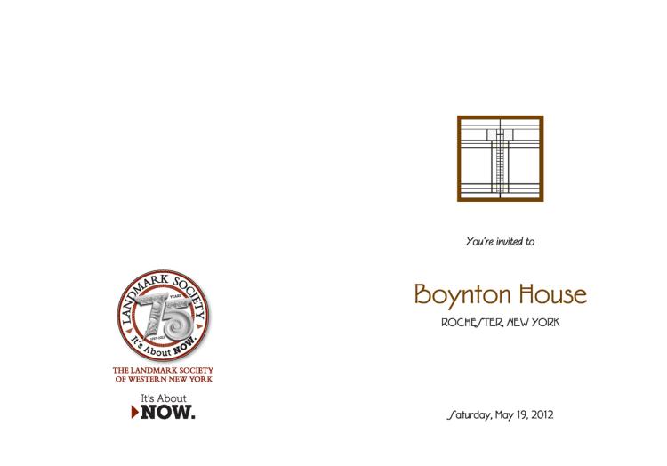 Bill Klingensmith MYDARNDEST Studio in Rochester, New York: Landmark Society of Western New York -75th Campaign #branding Boynton House Invitation