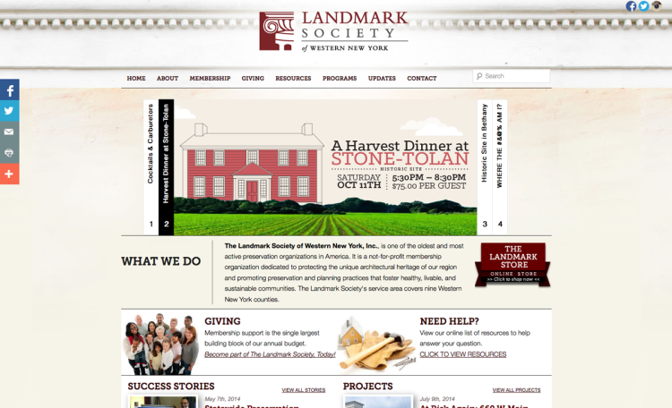 Bill Klingensmith MYDARNDEST Studio in Rochester, New York: Landmark Society of Western New York #branding #logo #website