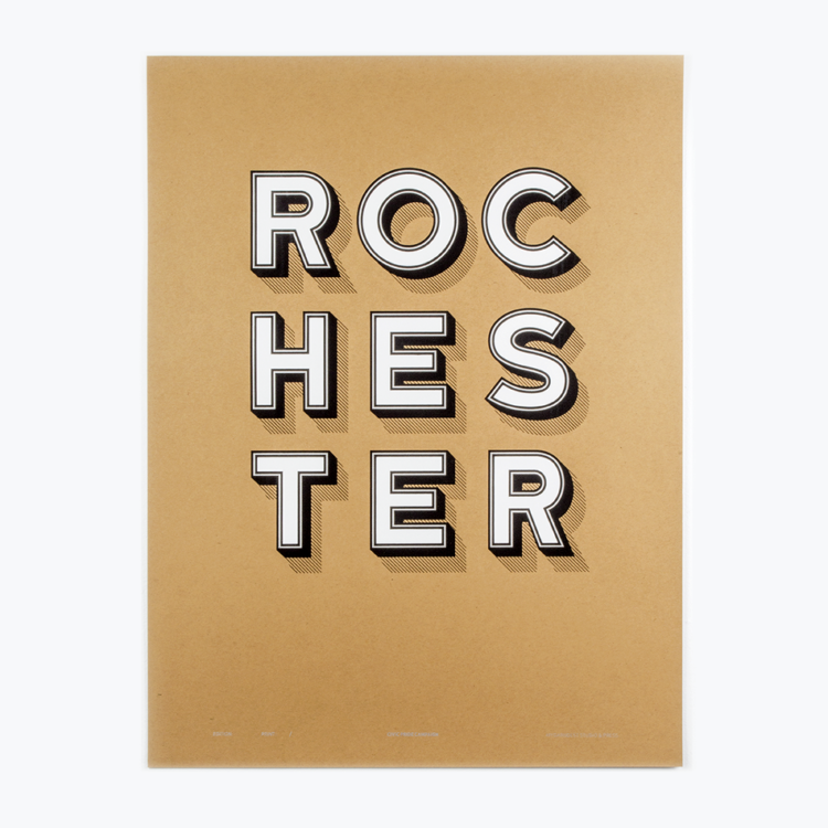 "This first version of the ROCHESTER STACKED poster is 19"" x 25"" on French Paper's Brown Box Kraft, 100 lbs. Kraft-Tone Cover. Printed with Speedball's White, Silver and Black Water Based Acrylic Ink. I am only running 25 of each variable combination. What this does is make your print unique and collectable items. Plus, it keeps it interesting to me for creating new versions to print! The design is something that i have been working on for a while. It started with 3D letters that I cut on my CNC. A lovely piece but something that was not a practical product for my fellow Rochesterians. One thing that makes this design even more of a regional design is the typeface was created by Tyler Finck of Finck Co. in Ithaca, New York. It's name is Katahdin and has its own wonderful story. This poster is a hand-pulled screen print. Giving it that tactile feeling that only this process can produce. They are all number and signed by me, Bill Klingensmith. http://mydarndest.com/"