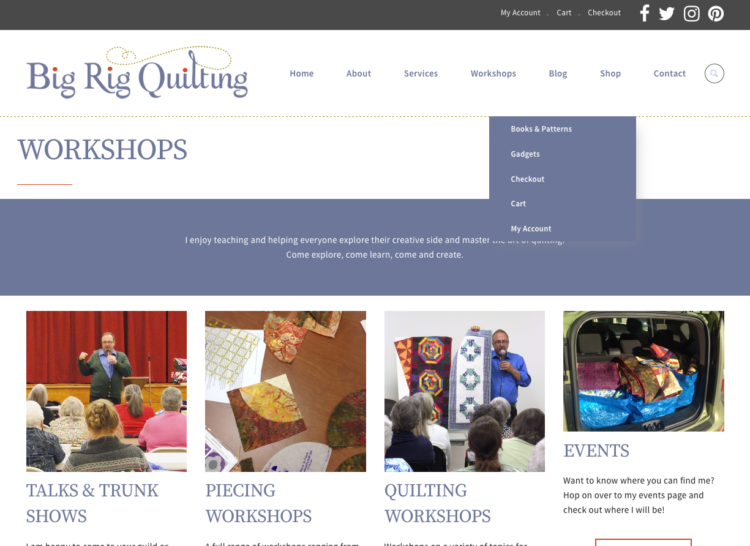 MYDARNDEST STUDIO: Web Design - Big Rig Quilting Artist Website